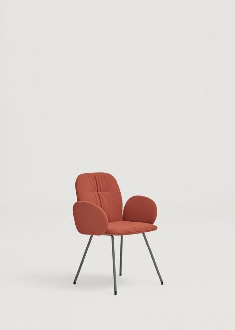 Loop chair with metal base and upholstered arms