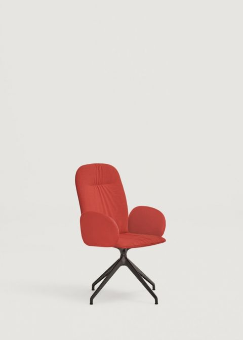 Loop chair with high shell and upholstered arms